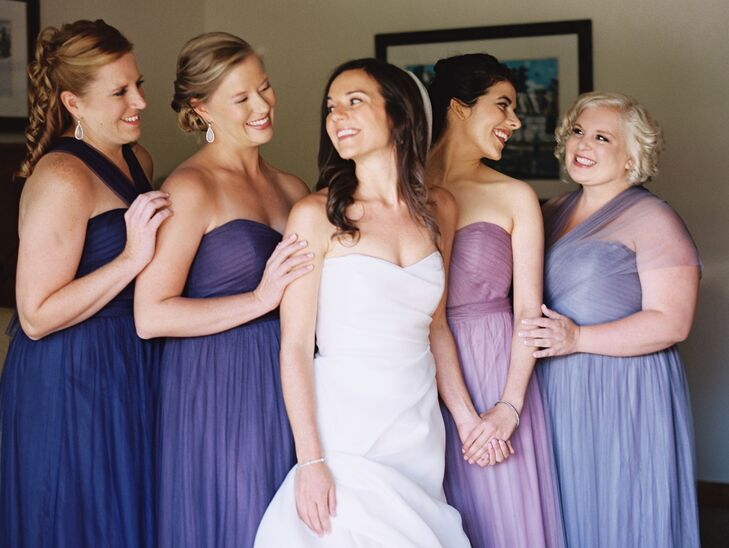 The bride opted for varying shades of purple for her four bridesmaids. All kept their hair and makeup loose and natural in keeping with the day's setting.
