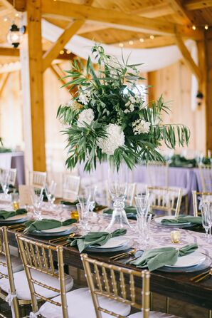 Tall Tropical Centerpieces and Lavender and Green Linens