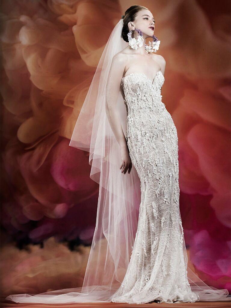 Naeem Khan wedding dress strapless trumpet lace dress