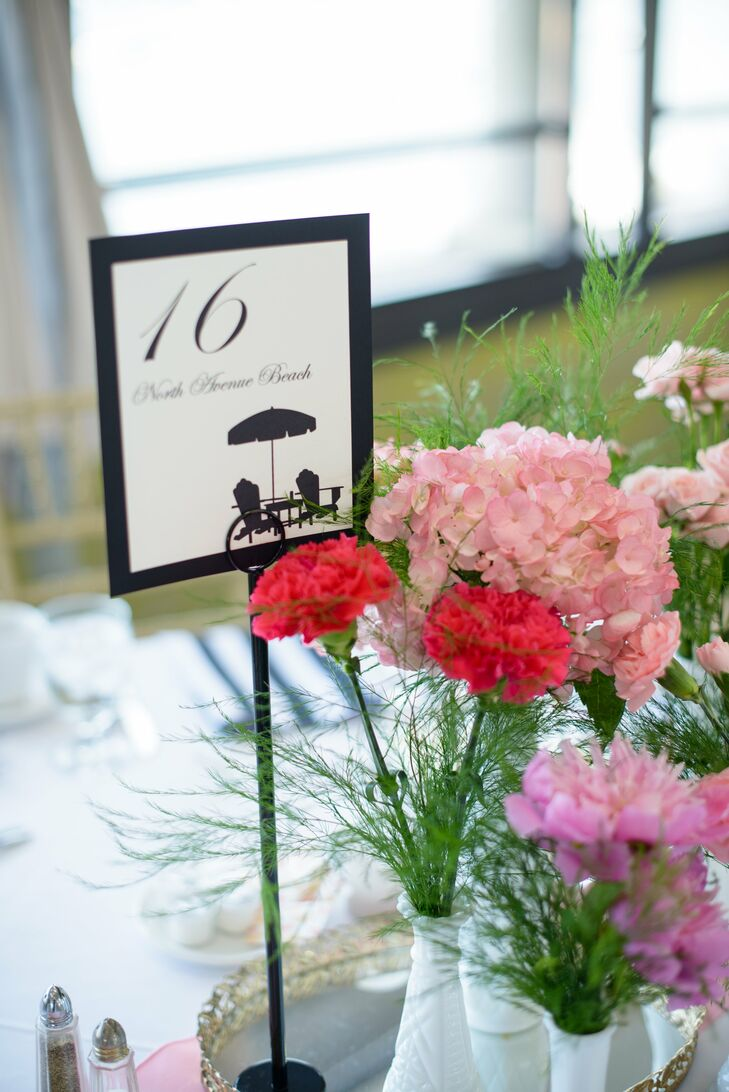 As a nod to where they newlyweds live, they brought Illinois to their destination wedding with Chicago table names.