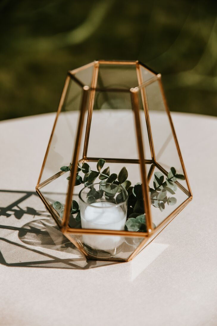 Gold Geometric Lantern Centerpiece