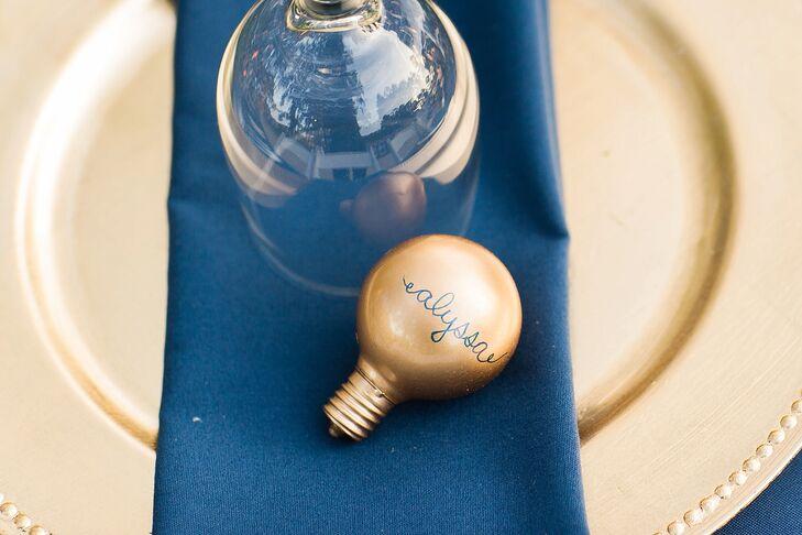Whimsical Gold Lightbulb Escort Cards
