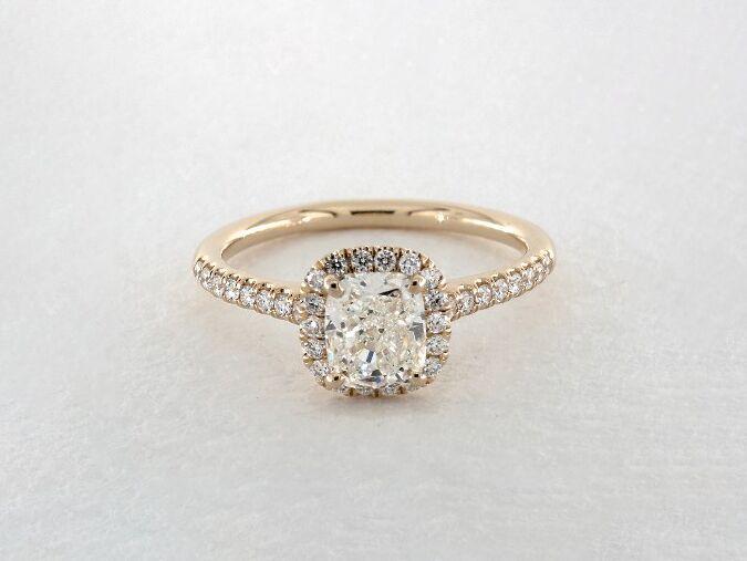 James Allen cushion cut halo diamond engagement ring