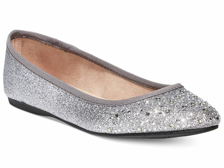 silver flats with rhinestones