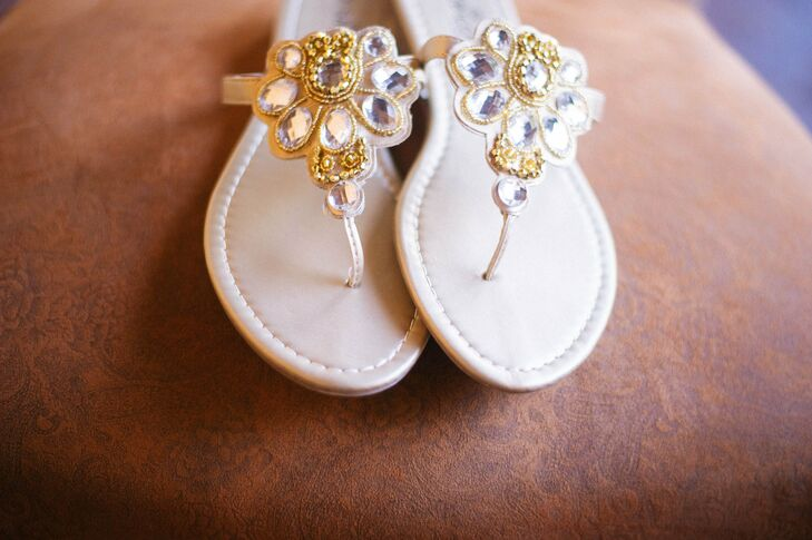 Flat bejeweled sandals added a hint of bohemian glam to Rose's bridal look without compromising on comfort.