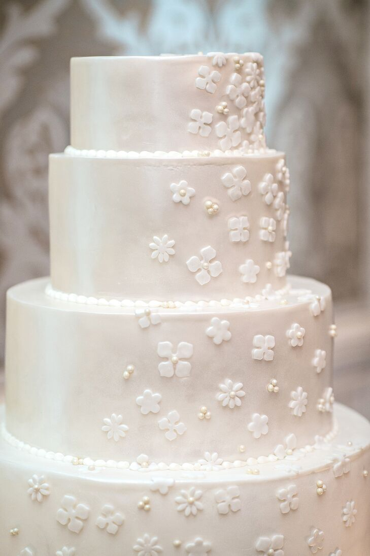 Ivory Fondant Cake with Cascading Flower Detail