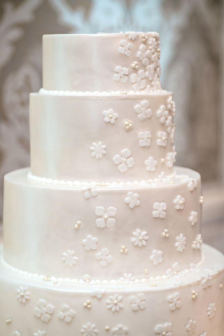 Ivory Fondant Cake with Cascading Flower Detail