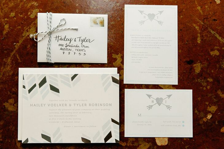Geometric Arrow Motif Silver Wedding Invitations