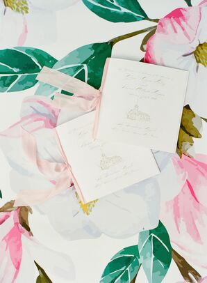Formal Ceremony Programs with Pink Ribbon and Calligraphy
