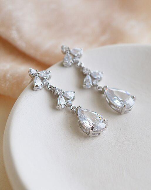 Dareth Colburn Elora Floral CZ Dangle Earrings (JE-4179) Wedding Earrings photo