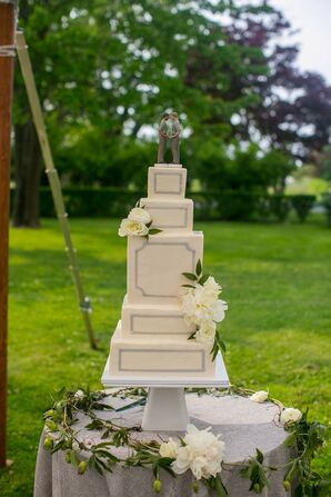 Square Tiered Wedding Cake with Modern Design and Flowers