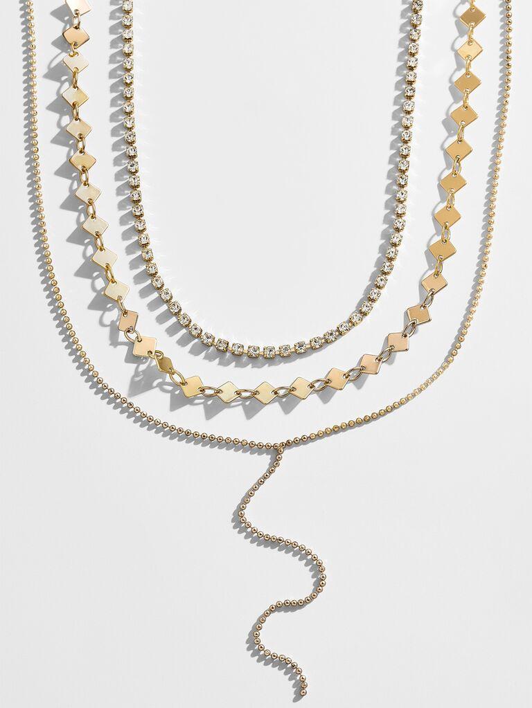 Layered gold wedding necklace set