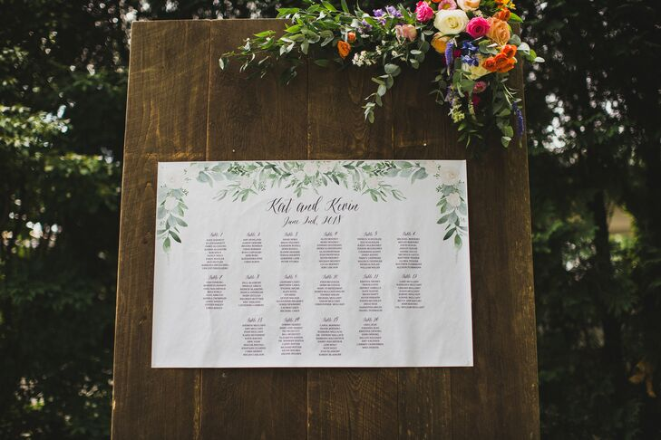Natural Greenery-Illustrated Seating Chart on Rustic Wood Backdrop