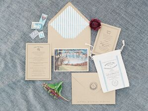 Custom Kraft Paper Invitations with Vintage Postcards