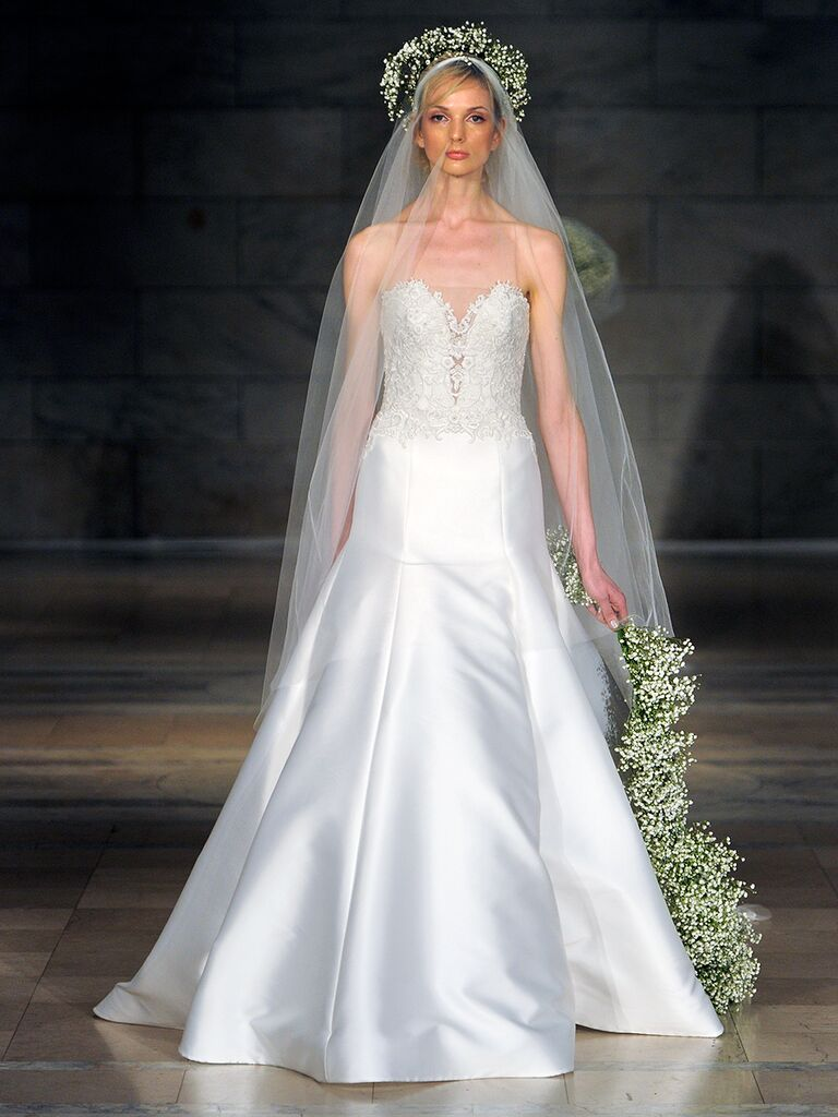 Reem Acra Fall 2018 embroidered strapless wedding dress with plunging neckline