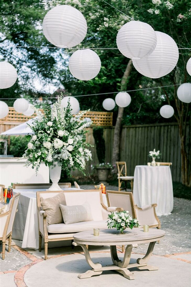 Paper Lanterns at Classic Garden Wedding in Wilmington, North Carolina