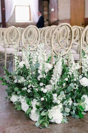 Green-and-White Aisle Arrangements at Classic Garden Wedding in Wilmington, North Carolina