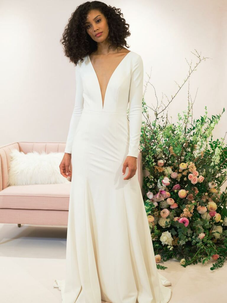 2765fb47af6 Jenny Yoo Fall 2018 long sleeve crepe wedding dress with deep v-neckline