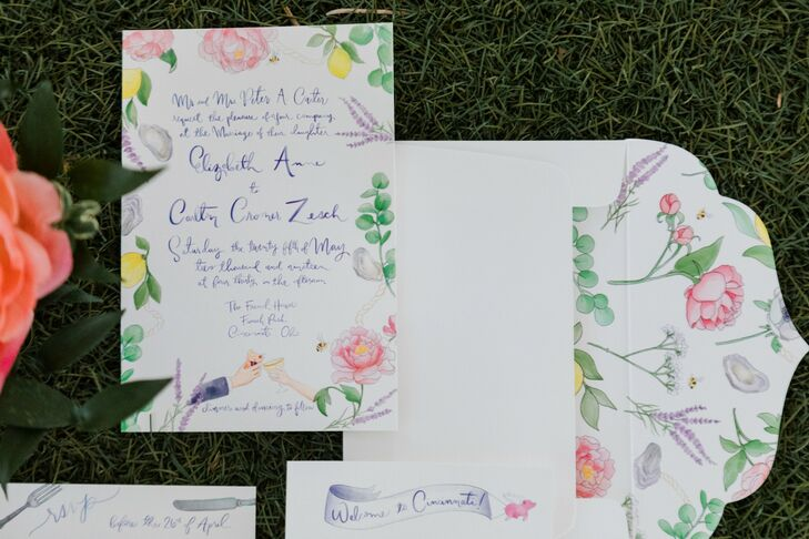 Colorful Watercolor Wedding Invitation with Whimsical Calligraphy