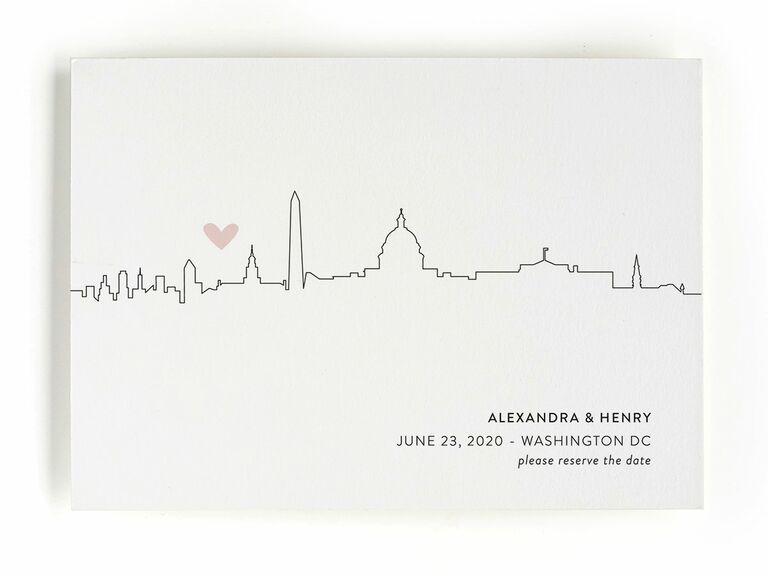 Minted heart skyline destination wedding save-the-date