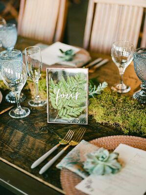 Wooden Farm Table with Moss Runner and Leaf Table Number