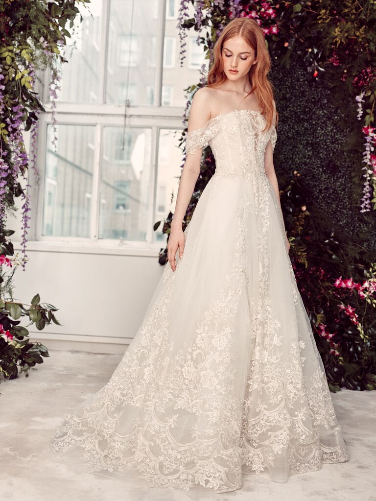 Alyne by Rita Vinieris Spring/Summer 2020 Bridal Collection romantic A-line wedding dress with off-the-shoulder sleeves