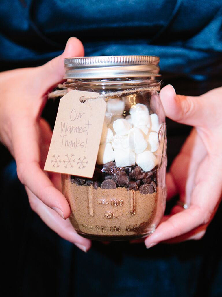Hot chocolate wedding favor with 'warmest wishes' thank-you tag