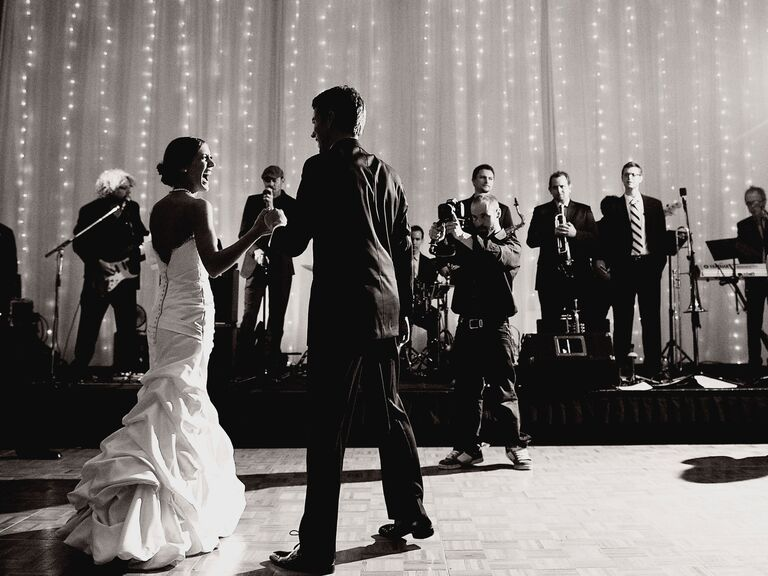 First dance at wedding reception with band