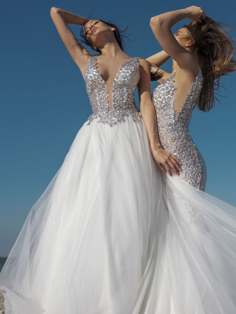 Pnina Tornai Spring 2020 Bridal Collection silver and white beaded tulle ball gown