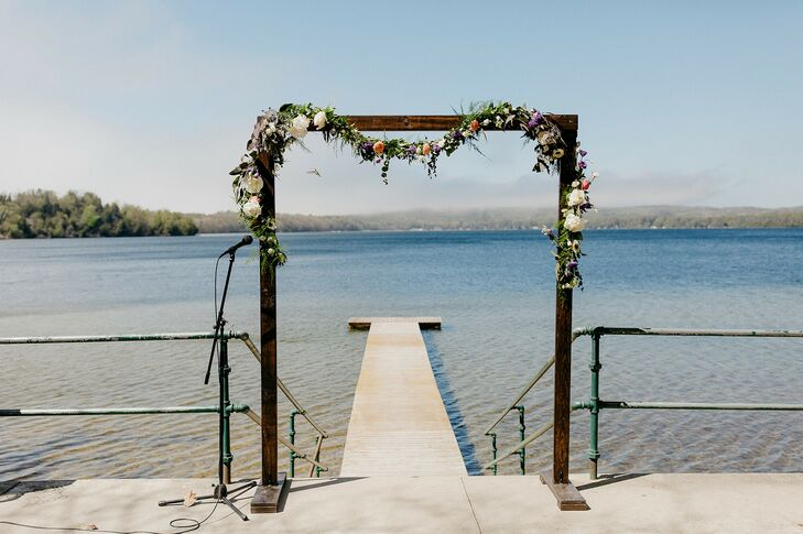 Wedding Ceremony Arch in Front of Lake Michigan