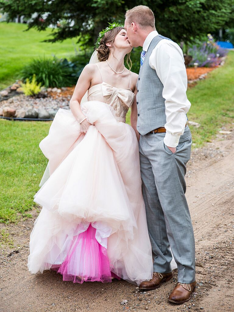 Blush pink wedding gown by White by Vera Wang