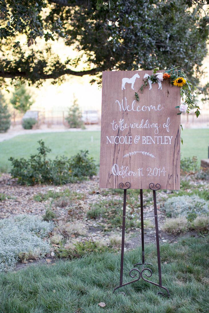 Wooden Wedding Sign With Horse