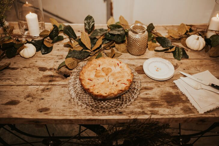 Farmhouse Dessert Table with Pie, Candles and Leaves