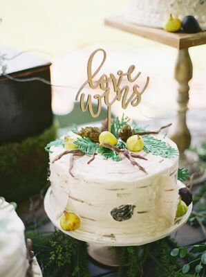 """White Rustic Single Tier Cake with """"Love Wins"""" Cake Toppers"""