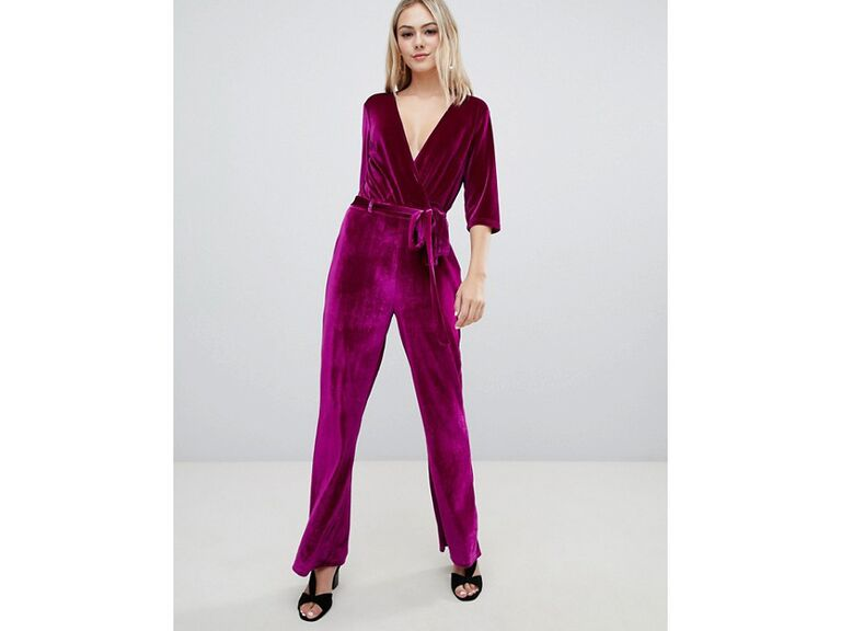 Purple velvet winter wedding guest jumpsuit