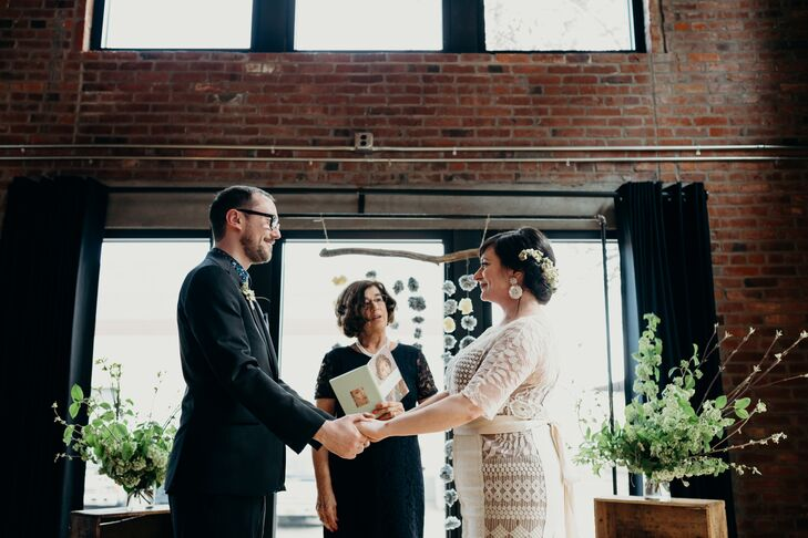 Modern,  Casual Ceremony with Industrial Backdrop