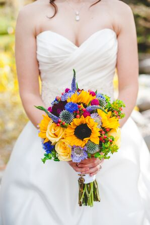 Yellow Wildflower-Inspired Bridal Bouquet