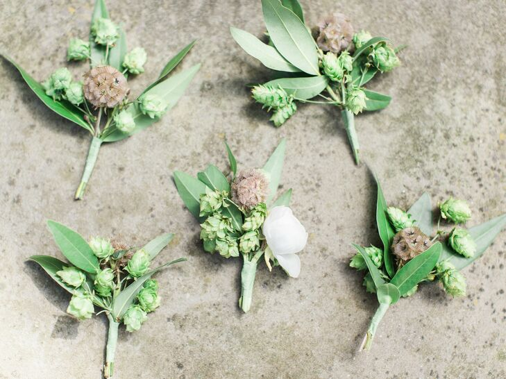 Clayton and his groomsmen donned green boutonnieres made from scabies pods and hops sourced from western Michigan.