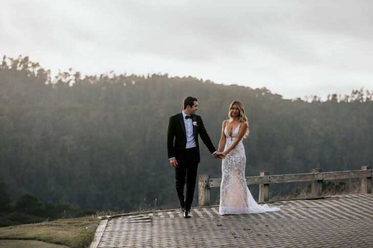 """To complement their venue, Tehama Golf Club in Carmel-By-The-Sea, California, Nicole and Danny went with a wedding aesthetic that was """"romantic yet mo"""