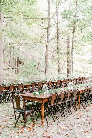 Wooden Reception Tables in The Woods