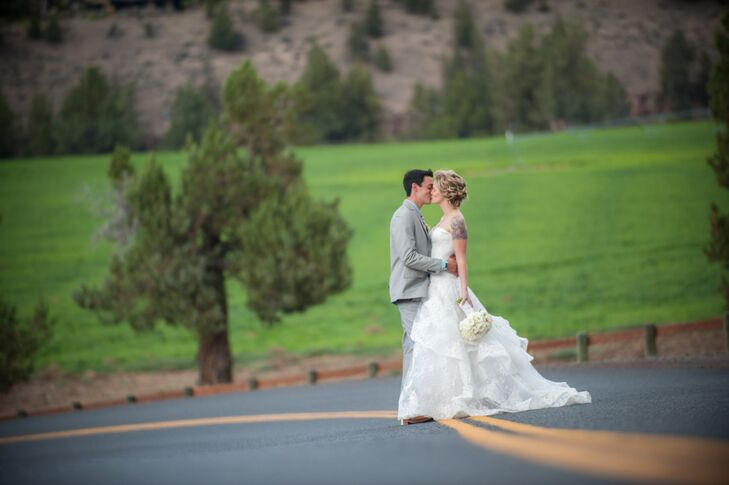 Nicole and Jason's wedding in Oregon was mostly DIY. From her handmade veil, and hand-dyed shoes to her homemade invitations and candle favors, guests
