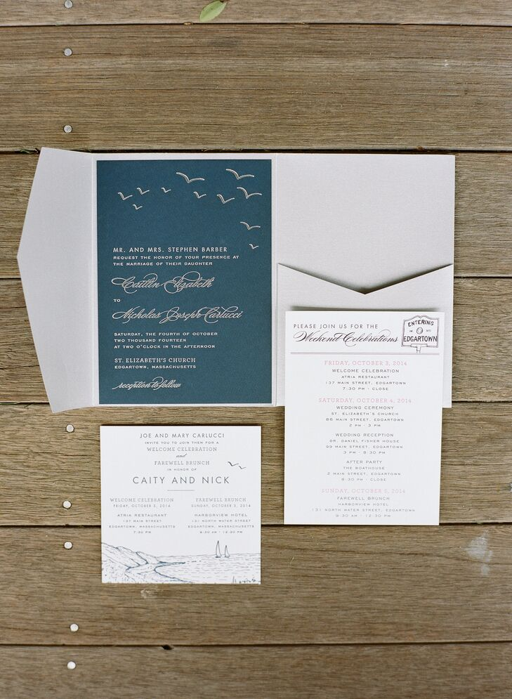 """Caity and Nicholas worked with Swiss Cottage Designs to create all of the wedding's stationery, including the save-the-dates, invitation suite, escort cards and menus. """"They specialize in custom wedding invitation suites for destination weddings,"""" says Caity. """"They carried a lot of the same themes and designs elements across all of the materials, which made everything feel very cohesive."""""""