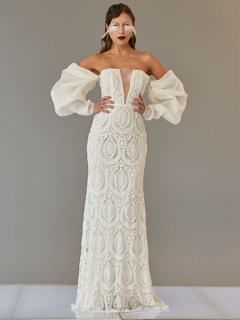 Francesca Miranda Spring 2020 Bridal Collection embroidered wedding dress with off-the-shoulder statement sleeves