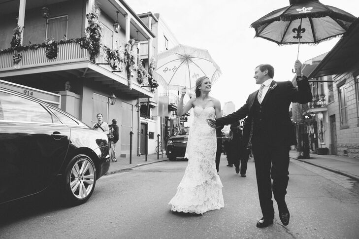 Rebecca and Shawn's wedding at the New Orleans Pharmacy Museum incorporated many traditional Louisiana elements, including a second line parade, the f