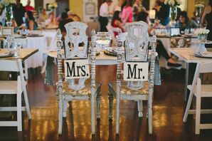 """""""Mr."""" and """"Mrs."""" Signs at Sweetheart Table"""