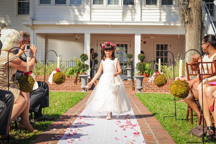 Lace Flower Girl Dress and Pink Flower Crown
