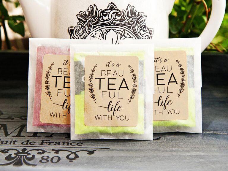 Inexpensive tea wedding favors