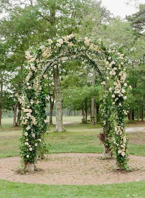 Outdoor Wood Chuppah with Greenery and Roses