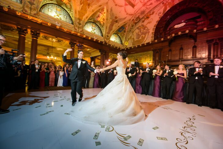 First Dance on Gold Monogramed Dance Floor