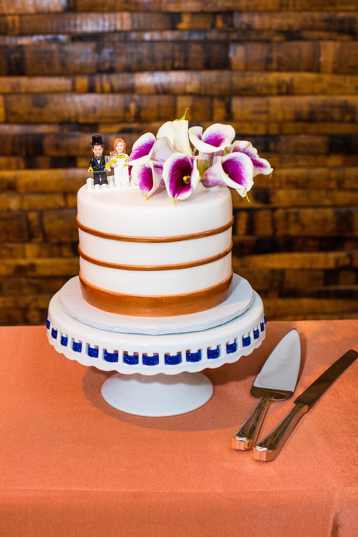 Personalized LEGO-Inspired Cake Topper with Calla Lilies